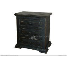 Terra Black 3 Drawer Nightstand