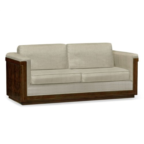 86'' Antique Mahogany Brown High Lustre Sofa, Upholstered in MAZO