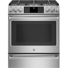 "GE Cafe™ Series 30"" Slide-In Front Control Range with Warming Drawer"