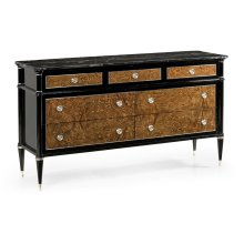 Madison Piano Black & Amber Ash Burl Dresser with Black Silver Marble Top