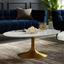 "Lippa 42"" Oval-Shaped Wood Top Coffee Table in Gold White"