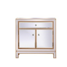 A perfect balance of contemporary elegance and practical utility, this chic one drawer, two doors mirror cabinet will enhance any room in your home. Featuring a hand painted gold finish, top quality mirror panels in distinctive mitered corner, jewel like crystal door knobs, it will provide you with stylish storage space you often need.