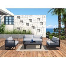 Renava Wharf Outdoor Grey & Black Sofa Set