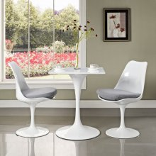 """Lippa 24"""" Square Wood Top Dining Table in White"""