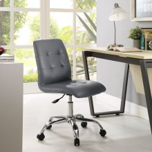 Prim Armless Mid Back Office Chair in Gray