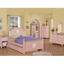 Pink Finish Full Size Bedroom Set