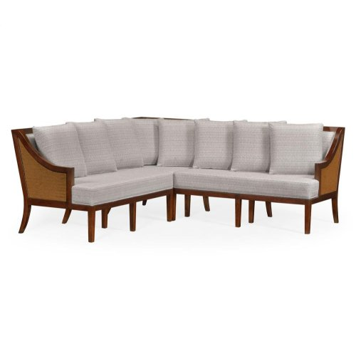 Tan Rattan Outdoor Corner Sofa, Upholstered in Standard Outdoor Fabric