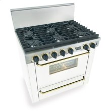 "36"" Six Burner All Gas Range, Sealed Burners, White with Brass"