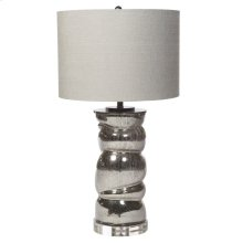 CYPRUS TABLE LAMP  Metallic Finish on Glass Body with Acrylic Base  Hardback Shade  150 Watt  3-