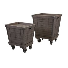 Ella Elaine Wood Cart Tray Side Tables - Set of 2