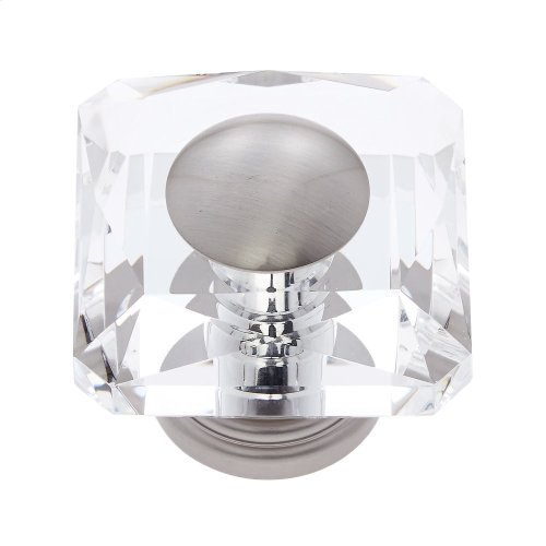 Satin Nickel 50 mm Square Crystal Knob