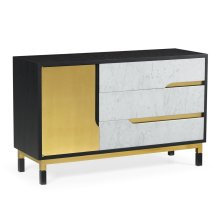 Contemporary Rectangular Ebonised Oak & White Calcutta Marble Wide Storage Cabinet