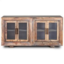 HUGHES SIDEBOARD  Natural Finish on Reclaimed Wood with Plain Glass  4 Door