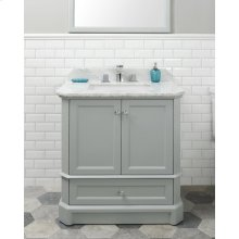 White RICHMOND 30-in Single-Basin Vanity Cabinet with Crema Marble Stone Top and Muse 18x12 Sink
