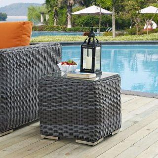 Summon Outdoor Patio Glass Top Side Table in Gray