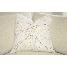 Hand Painted Pillow - Pollock on White Linen