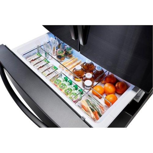 22 cu. ft. 4-Door French Door, Counter Depth Refrigerator with Food Showcase in Black Stainless Steel