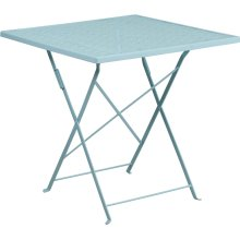 """Commercial Grade 28"""" Square Sky Blue Indoor-Outdoor Steel Folding Patio Table"""