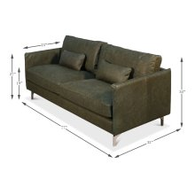 Contemporary Design Leather Sofa,Olv Grn