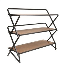 "Wood / Metal 42"" 3 Tiered Shelf Unit, Brown"