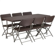 5.5-Foot Brown Rattan Plastic Folding Table Set with 6 Chairs