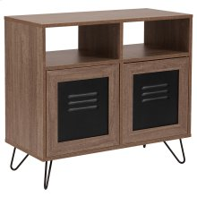 "Woodridge Collection 29.75""W 2 Shelf Storage Console\/Cabinet with Metal Doors in Rustic Wood Grain Finish"