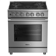 "30"" Pro gas stainless range with 5.7 cu ft self clean oven, 5 burner, track light"