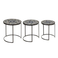 Blue & White Scroll Tile Nested Table (3 pc. set)