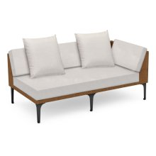 "67"" Outdoor Tan Rattan 2 Seat L-Shaped Left Sofa Sectional, Upholstered in COM"
