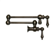 Vintage III wall mount pot filler with lever handles and a swivel aerator.