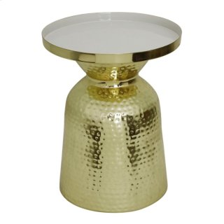Emrie Side Table, Shiny Brass/White