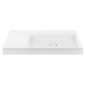 Wall mounted or counter top washbasin sink in European White Ceramic with concealed overflow Product Image