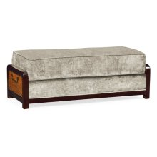 Sonokelling & Brown Rattan Ottoman, Upholstered in Calico Velvet; Pairs with 500078-44L-SKL-F005