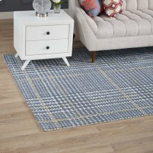 Kaja Abstract Plaid 5x8 Area Rug in Ivory, Cadet Blue and Citron