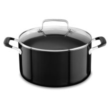 Aluminum Nonstick 6.0 Quart Stockpot with lid - Onyx Black
