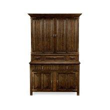 Linenfold Dark Oak TV Cabinet