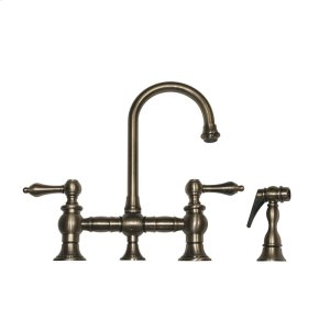 Vintage III entertainment/prep bridge faucet with a short gooseneck swivel spout, lever handles, and a solid brass side spray. Product Image