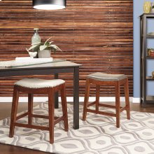 """Metro 24"""" Saddle Stool With Nail Head Accents and Espresso Finish Legs With Cream Bonded Leather"""