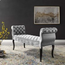 Adelia Chesterfield Style Button Tufted Performance Velvet Bench in Light Gray
