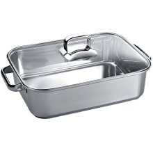 "Stainless Steel Roasting Pan with Glass Lid 10"" x 16"" TROASTERT"