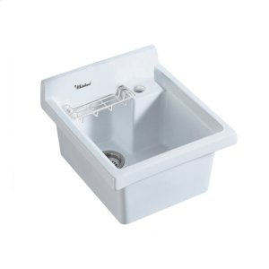 """Vitreous China single bowl drop-in utility sink with soap grid, wire basket, and a 3 1 2 """" off center drain. Product Image"""