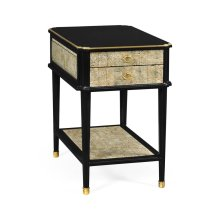 Black End Table with Eggshell & Bronze Detailing