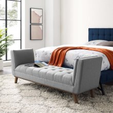 Haven Tufted Button Upholstered Fabric Accent Bench in Light Gray