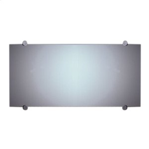 New Generation frameless rectangular-shaped mirror with round polished stainless steel wall mount supports. Product Image