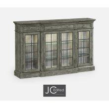 Four Door China Display Cabinet in Antique Dark Grey