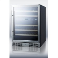 46-bottle Dual Zone Built-in Wine Cellar With Digital Thermostat, Glass Door, and Black Cabinet