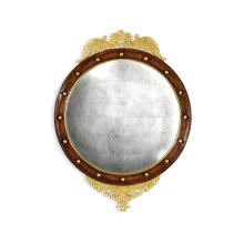 Regency walnut & gilt round convex eglomise mirror (Large)