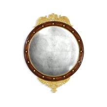 Regency walnut & gilt round convex eglomise mirror (Large)