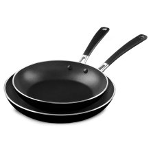 """Aluminum Nonstick 10"""" and 12"""" Skillets Twin Pack - Onyx Black"""