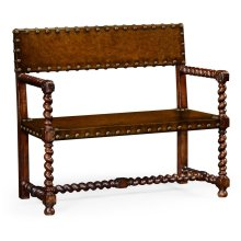 Tudor Style Leather Bench (Walnut)